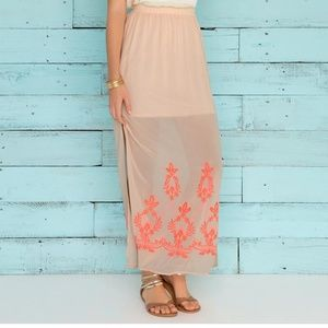 Francesca's Coral Embroidered Maxi Skirt NWT